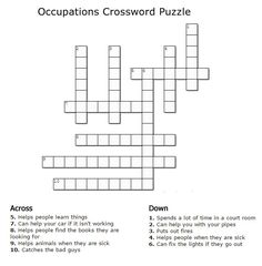 State capitals crossword brain teasers pinterest social kids crossword puzzles print your occupations crossword puzzleg puzzle at allkidsnetwork ccuart Image collections