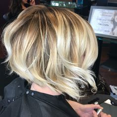 Short Balayage bob. Textured waves. Beige and pearl blonde with Olaplex.