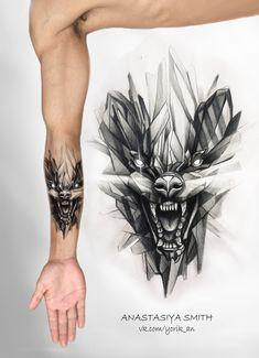 ArtStation - Glass Badger , Anastasiya Smith - Sister and Brother Tribal Wolf Tattoo, Wolf Tattoo Sleeve, Arm Band Tattoo, Sleeve Tattoos, Geometric Tattoo Animal, Lion Tattoo Design, Sketch Tattoo Design, Tattoo Sketches, Tattoo Designs