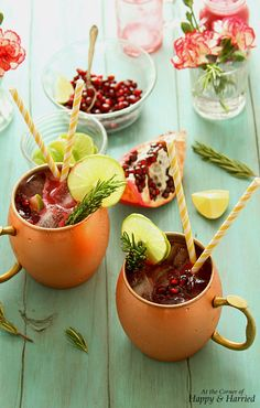 Pomegranate Mock Moscow Mule | This festive Moscow mule inspired mocktail made with fresh pomegranate juice, limes, rosemary and bubbly ginger ale is the perfect way to ring in the New Year. @anjanadev