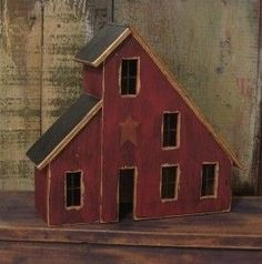 Country Primitive Lighted Saltbox House