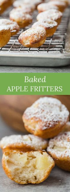These baked apple fritters are so delicious. Whip up this easy recipe and enjoy a fair classic that is baked and not fried! #apple #fritters #dessert #fall #baking