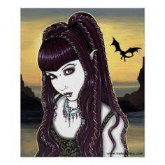 Katana Gothic Dragon Goddess Poster