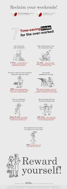 7 trucos de ahorro de tiempo cuando hay exceso de trabajo #infografia #infographic