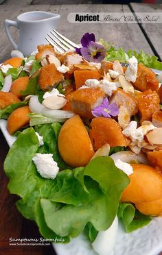 Apricot Almond Chicken Salad with Goat Cheese, Vidalia Onion and a ...