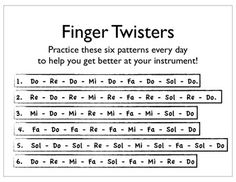 Beginning Band Finger Twisters (in solfege)