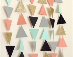Gold Mint Navy Coral Grey Triangle Garland. by LaCremeBoutique