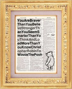 Framed Winnie the Pooh quotes