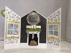 The Craft Spa - Stampin' Up! UK independent demonstrator : Pop Up Festive Fireplace Tea-Light Card by Lisa Jackson
