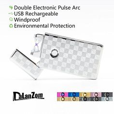 DaLanZom June NEW USB Rechargeable Windproof Electric Plasma Arc Lighter  Flameless Electronic Pulse Arc Cigarette Lighter Set with USB Charging Cable Silver >>> Check out this great product.