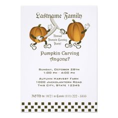 Pumpkin Carving Party Personalized Invitation