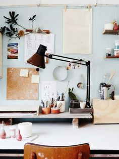 Lucile Sciallano — The Design Files - LOVE the wall color (if you look carefully, you'll see that this board is made almost entirely of home ~~office~~ decoration, instead of just home decoration. Workspace Inspiration, Interior Inspiration, Room Inspiration, Inspiration Boards, Desk Inspo, Home Interior, Interior Design, Workspace Desk, Desk Space