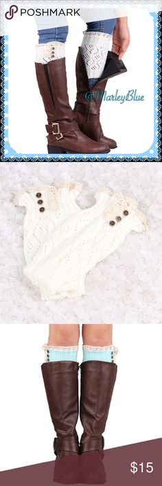 Dainty White Lace Trimmed Boot Cuffs Very on trend. Lace trimmed boot cuffs with 3 button design. This listing for white. Create the look of a long sock without the bulk. Also cute with shorter boots to give a leg warmer look. Also available in other colors in separate listings. Price is firm. Bundle with other items from my closet to save 20%. Thanks for looking and feel free to ask questions  Accessories Hosiery & Socks