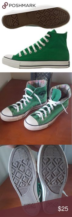 Converse Chuck Taylor Roll Down Mens Hi-Top Shoes Converse Chuck Taylor Roll Down Mens Hi-Top Shoes in the color green with a plaid inside. Item has been Pre loved and has visible signs of wear. The Lace's are not the original ones and are a bit short. Color is a tad faded and does have some imperfections but nothing major. The white rubber is not sparkly clean. This item is in good condition and still has plenty of steps left in him/her. If you have any questions leave them below Converse…
