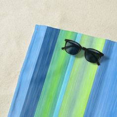 #classy - #Turquoise Lime Green White Watercolor Stripes Beach Towel