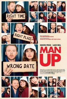 Man Up is a 2015 British-French romantic comedy film directed by Ben Palmer from a screenplay written by Tess Morris,[4] starring Simon Pegg and Lake Bell. The film follows a single 34-year-old woman (Bell), who after being mistaken for a stranger's blind date, finds the perfect boyfriend in a 40-year-old divorcee (Pegg).