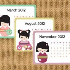 adorable Kokeshi calendar printable - for my smashbook