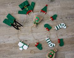 Elf's Washing Line Christmas Bunting Garland