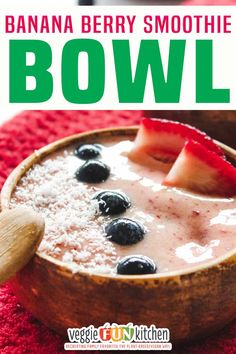 This tasty banana berry smoothie bowl is made with frozen bananas and strawberries, vanilla, a little maple syrup, and plant-milk or other liquid of choice. Top with berries, nuts, coconut, or granola for a customizable healthy frozen treat. I've been on a vegan frozen treat kick lately! (See below.) And while my vegan ice creams are super yummy, I've also been feeling a little…um…overindulged lately too. | @veggiefunkitchen