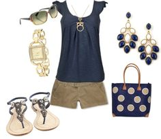 """Navy and Khaki"" by heather767 ❤ liked on Polyvore"