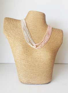 Ombre peach necklace, light peach and ivory necklace, seed bead necklace, blush necklace,beaded necklace,seed bead jewelry,light coral