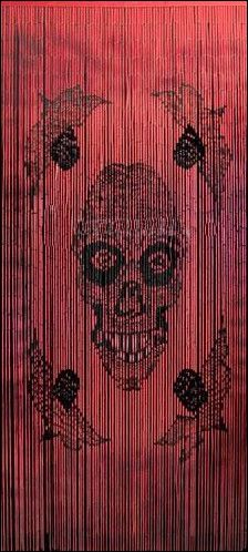 Red   Skull   Painted Bamboo   Door Beads