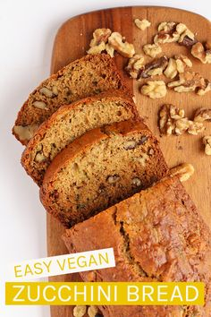 simple and delicious vegan zucchini bread that is filled with zucchini and walnuts in every bite. Spiced with cinnamon, nutmeg, and cardamom, you're going to love the flavors in this classic bread. Vegan Zucchini Recipes, Healthy Bread Recipes, Vegan Dessert Recipes, Vegan Breakfast Recipes, Vegan Sweets, Vegan Foods, Whole Food Recipes, Vegan Meals, Vegetarian Recipes