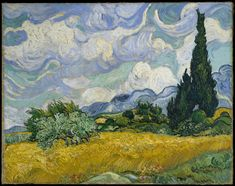 Cypresses gained ground in Van Gogh's work by late June 1889 when he resolved to devote one of his first series in Saint-Rémy to the towering trees. Distinctive for their rich impasto, his exuberant on-the-spot studies include the Met's close-up vertical view of cypresses (49