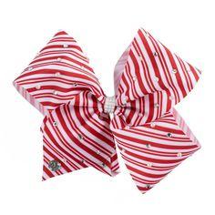 Girls 4-16 JoJo Siwa Candy Cane Embellished Hair Bow, Red