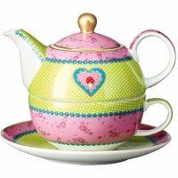 Théière en porcelaine tasse et soucoupe intégrées - Tea for one