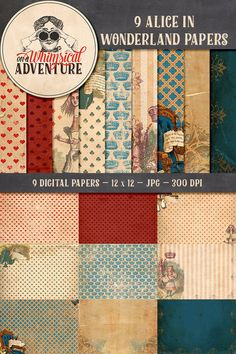 Grungy vintage Alice in Wonderland Digital Paper Pack 12 x 12 inch 9 papers pack instant download printable digital collage sheet 9013OAWA by VectoriaDesigns on Etsy https://www.etsy.com/listing/239110034/grungy-vintage-alice-in-wonderland
