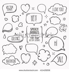 Collection of hand drawn think and talk speech bubbles with love message, greetings and sale ad. Doodle Drawings, Cute Drawings, Doodle Art, Comic Balloon, Speech Balloon, Bujo Doodles, Doodle Icon, Sketch Notes, Love Messages