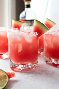 A refreshing margarita that is made with fresh watermelon juice, triple sec, fresh lime juice, and silver tequila. The perfect drink for summer parties and barbecues!