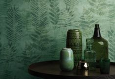 Fern by Galerie - Green - Wallpaper : Wallpaper Direct Fern Wallpaper, Metallic Wallpaper, Wallpaper Ideas, Easy Up, British Colonial, Metallic Colors, Art Deco Design, Ferns, Shades Of Green