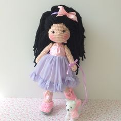 Crochet doll and puppy