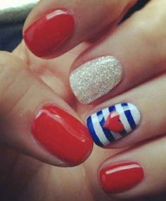 .:* L - Gorgeous red, white, and blue nautical nails with cute red heart. 30 Patriotic Nail Art Ideas For The Fourth Of July from BuzzFeed
