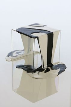 "Functional art: ""after Lynda Benglis"". Poured resin side table by kelly behun 