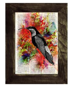 Hummingbird Collage II Print on Vintage Dictionary Book by PRRINT