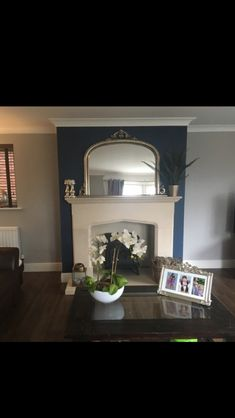 Stiffkey Blue (Farrow and Ball) adding depth to my chimney, complimented by Purbeck Stone Living Room Decor Cozy, Living Room Grey, Interior Design Living Room, Living Room Designs, Living Rooms, Grey Stone Fireplace, Farrow And Ball Living Room, Stiffkey Blue, Purbeck Stone
