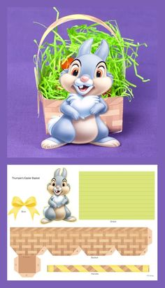 Hop into spring with Thumper by making this fun printable Easter basket! Easter Templates, Easter Printables, Printable Crafts, Disney Diy, Disney Crafts, Easter Photo Frames, Easter Egg Crafts, Diy Gift Box, Craft Box