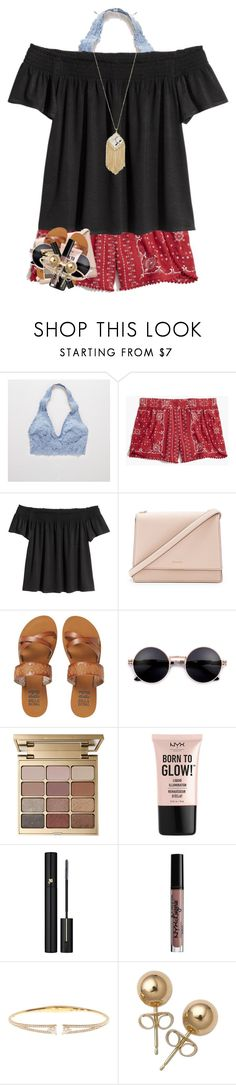 """aaaah i found the shirt and shorts right next to each other in my feed and it's perfect"" by marthaswilliams ❤ liked on Polyvore featuring Aerie, Madewell, Kate Spade, Billabong, Stila, NYX, Lancôme, Nadri, Bling Jewelry and Kendra Scott"