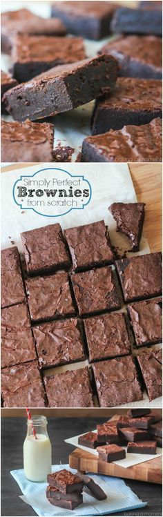 Perfect Brownies from Scratch Hands-down the BEST brownie recipe ever! So fudgy and rich, and super-simple to make.Hands-down the BEST brownie recipe ever! So fudgy and rich, and super-simple to make. Best Brownies, Fudge Brownies, Cake Like Brownies, One Bowl Brownies, Baking Brownies, Cheesecake Brownies, Cake Baking, Pumpkin Cheesecake, Delicious Desserts