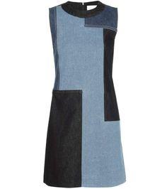 VICTORIA VICTORIA BECKHAM Patchwork Denim Shift Dress. #victoriavictoriabeckham #cloth #dresses