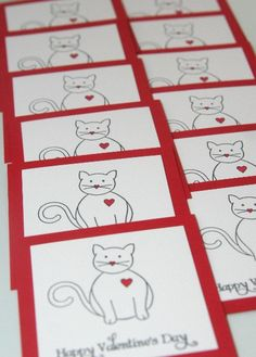 Childrens Valentines Cards Cat in Mini by LaurasPaperCreations, $9.25