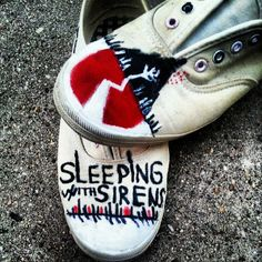 My Sleeping With Sirens shoes I made :) <33 KELLIN QUINN!!
