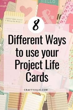 Do you have so many Project Life Cards, you arent sure what to do with them?  Use these 8 different ways to use your Project Life Cards in new ways!  #projectlife #craftscraps #craftyjulie via @craftyjulienow