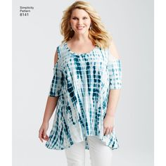 Knit tops for plus sizes. Pattern includes twisted knit top in long or tunic length, and tank dress mini with center front seam or high low tunic with cold shoulder detail. Simplicity sewing pattern.