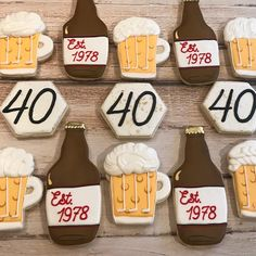 Cheer Birthday Party, 40th Birthday Themes, Cheer Party, Man Birthday, Birthday Ideas, Gluten Free Bakery, Gluten Free Cookies, Sugar Cookies, Cheers And Beers To 40 Years