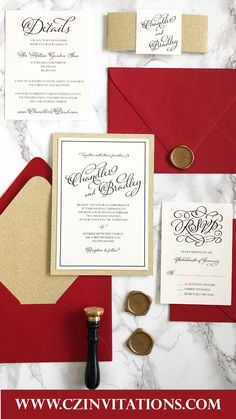 Gold Glitter and Red Invitation! Pair this with a gold wax seal and seal the deal on this set. This red and gold invitation is perfect for winter weddings. Glitter Wedding Invitations, Unique Invitations, Printable Wedding Invitations, Wedding Stationery, Pocket Invitation, Invitation Envelopes, Invitation Design, Gold Glitter Wedding