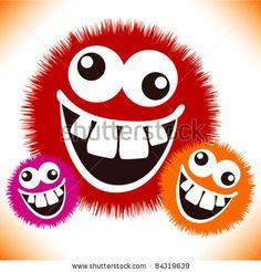stock vector : Crazy furry funny face cartoon design.